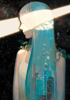 Фото Девушка с волосами из воды, в которой плавают рыбы и стоит город, стоит на фоне космоса, освещаемая лучом света, by 幻電放映