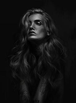 Фото Портрет девушки с длинными волосами, by h1fey