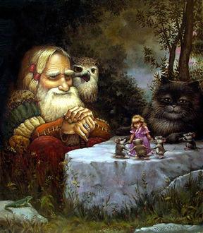 Фото Седой старик с совой на плече и черный кот сидят у камня, на котором танцует девочка в розовом платье с мышами, художник А. Москаев