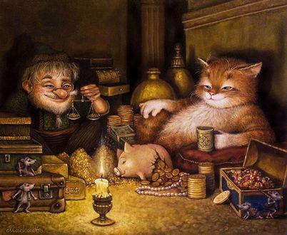 Фото Мужчина с весами в руках взвешивает золотые монеты, вытащенные из разбитой свиньи-копилки, рядом сидит рыжий кот с кружкой в лапе, за всем этим наблюдают мыши. художник А. Москаев