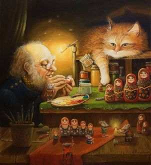 Фото Гном в очках раскрашивает кисточкой матрешки, лежащий на полке с вареньями, кот наблюдает за ним, художник А. Москаев
