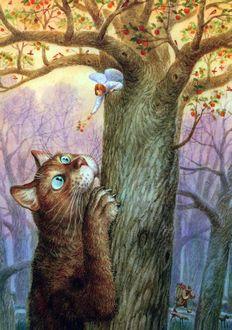 Фото Кот прислонился к стволу дерева с плодами и смотрит на маленького ангела, который протягивает ему ветку с плодами, художник Владимир Румянцев
