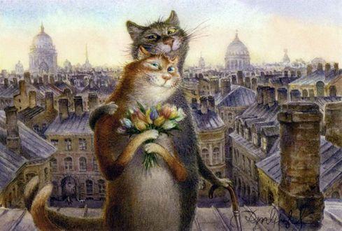 Фото Кот и кошка прогуливаются по крыше, кошка держит букет цветов, на фоне города, художник Владимир Румянцев