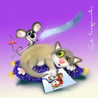 Фото Кошка лежит на пуфике, а мышь щекочет ее перышком, художник Лев Барсенев