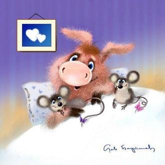 Фото Поросенок лежит в кровати с двумя мышками, художник Лев Барсенев