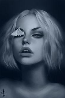 Фото Девушка с мотыльком на глазе, by arsenicandy