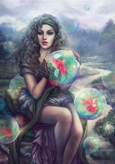 Фото Девушка с кучерявыми волосами сидит на камне и держит в руках водяной шар внутри которого находится рыба, by Vinegar