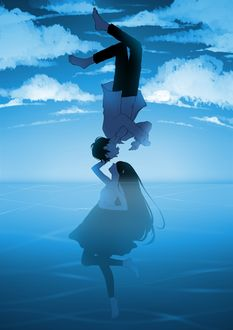 Фото Девушка в воде и парень в небе тянутся к друг другу, by pikarei