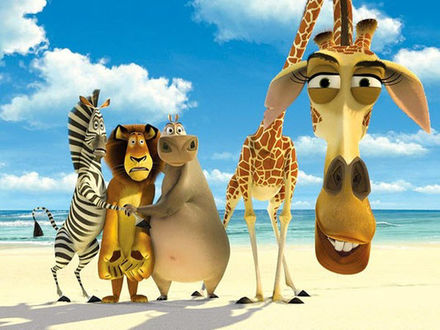 Фото Герои мультфильма Мадагаскар стоят на фоне облачного неба