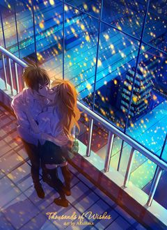 Фото Целующиеся парень и девушка на фоне домов, by AkubakaArts