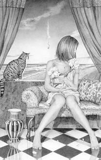Фото Девушка с цветами сидит на диване, за ней сидит кот, художник Kay Ruane