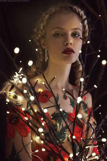 Фото Девушка со светящимися ветками и маками, by M0THart