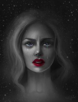 Фото Плачущая девушка с разноцветными глазами, by Sandramalie