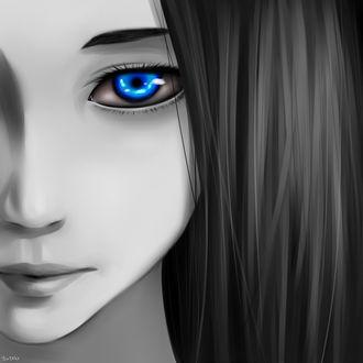 Фото Темноволосая девушка с голубыми глазами, by Yuteki