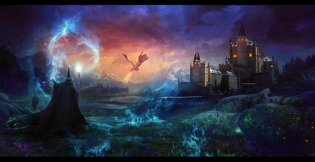 Фото Работа Adventure begins / Приключение начинается, колдун с посохом стоит перед сказочным замком, by estellium
