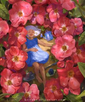 Фото Девочка в голубом платье лежит на земле возле лопаты и лейки в окружении розовых цветов, by Krisahe