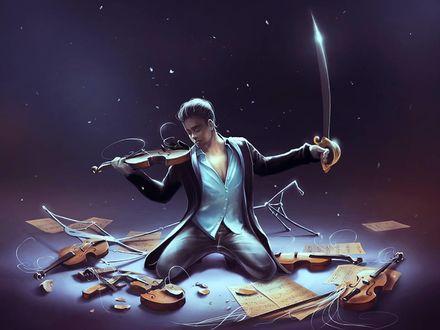 Фото Парень со скрипкой в одной руке и мечом в другой, by Aquasixio - Cyril ROLANDO