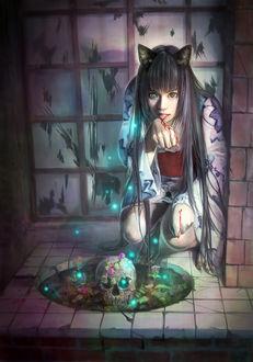 Фото Неко-девушка слизывает кровь с раны на руке, сидя перед дырой в полу, где лежит череп, by eat01234