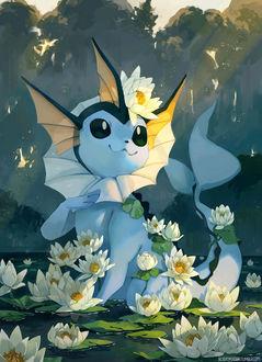 ���� �������� / Vaporeon �� ����� ������� / Pokemon, by bluekomadori