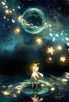 Фото Девочка со звездой в руках стоит в воде на фоне ночного неба и планеты с рыбками внутри, by Guava-Pie