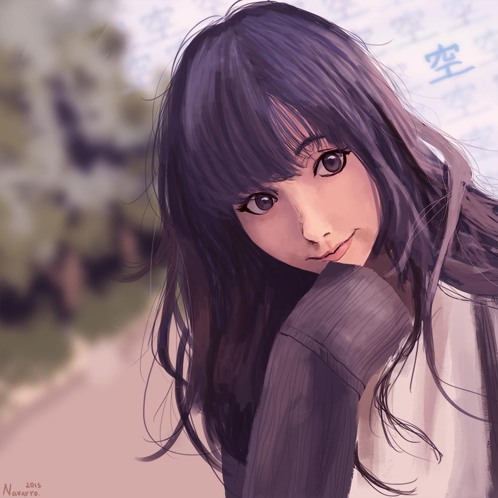 Картинки аниме темноволосые девушки