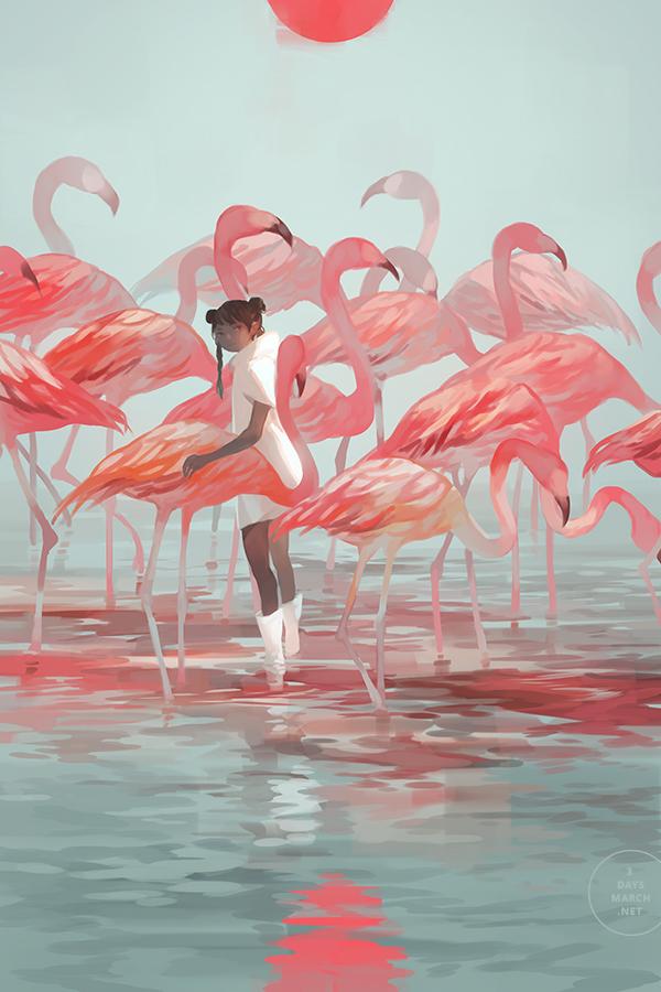 Картинка мальчик и фламинго