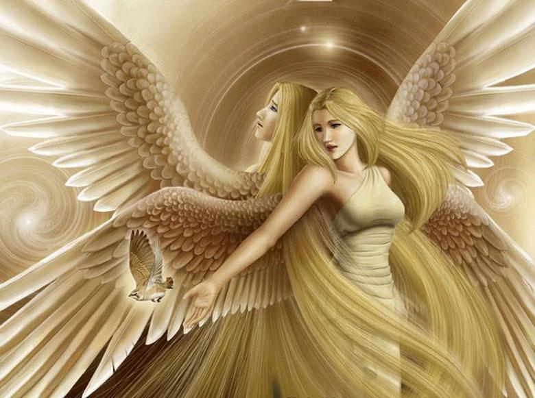 Фото Две девушки ангела стоят спиной друг к другу, одна из них выпускает из руки птицу