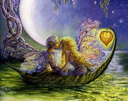 Фото Мальчик и девочка эльфы целуются, сидя в лодочке из листочка на фоне огромной луны, им светит фонарик, by Josephine Wall