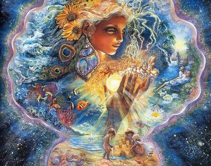 Фото Богиня лета держит в руках солнце над играющими у моря детьми, вокруг нее фантастический мир, by Josephine Wall