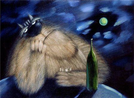 Фото Задумчивый кот сидит под ночным небом, подперев голову одной лапой и держа в другой лапе граненый стакан, рядом на столе стоит бутылка, художник Валерий Иванович Хлебников