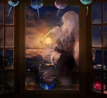 Фото Светловолосая девушка со стекляной банкой, внутри которой солнце, руках, рядом стоят баночки, внутри которых звездное небо, закатное небо и небо с алым закатом, by GLYCAN
