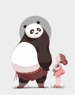 Фото По / Po из мультфильма Кунг-фу панда / Kung Fu Panda и Мэй Кусакабэ / Mei Kusakabe из мультфильм Мой сосед Тоторо / My Neighbor Totoro, by snatti