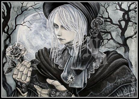 Фото Рlain doll / Кукла из игры Bloodborne: Порождение крови с розой в руке на фоне ночного неба и полной луны, by Hollow-Moon-Art