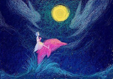 Фото Девочка сидит на розовом дельфине, выпрыгнувшем из морских волн в ночи под луной, китайский иллюстратор Рлон Вонг / Rlon Wang