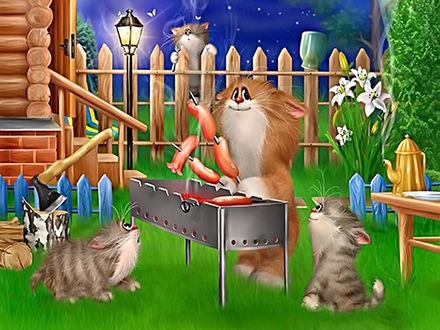 Кот на мангале