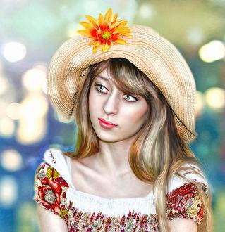 Фото Девушка с зелеными глазами в соломенной шляпе с цветком, фотограф Марфа