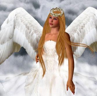 Фото Девушка - ангел с соломенного цвета волосами, с веночком на голове, белыми крыльями на фоне облаков
