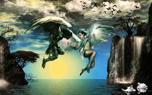 Фото Два ангела мужчина и девушка парят над водой на фоне водопада, неба и плавающий белых лебедей