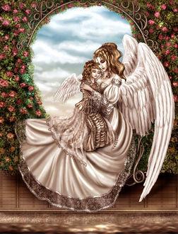 Фото Два ангела, мама и дочка спят в кресле-качалке на фоне окна среди цветов, в которое видно небо с облаками