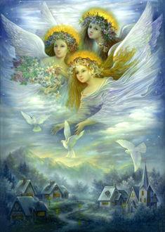 Фото Три девушки - ангела с веночками из цветов на голове, с цветами лилий и роз и три белых голубя парят над зимней деревушкой