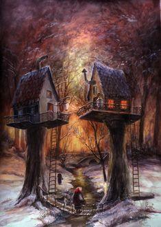 Фото Два сказочных домика на стволах деревьев стоят друг напротив друга, by MTrafimoff