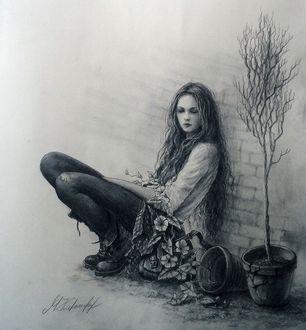 Фото Девушка сидит у стены, by MTrafimoff