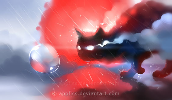 Фото Кот на фоне красного солнца под каплями дождя, by Apofiss