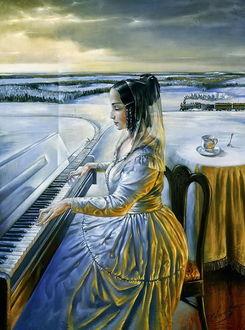 Фото Девушка музицирует за роялем на природе, клавиши которого переходят в железную дорогу, художник Михаил Хохлачев