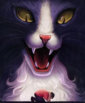 Фото Большая кошка разинув клыкастую пасть хищным взглядом смотрит на маленького человека, который пытается спрятаться от нее закрывшись руками, by Jake Giddens