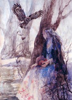 Фото Девушка с белочкой в руках и парящей в воздухе совой сидит у дерева, by MTrafimoff