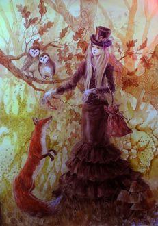 Фото Девушка в шляпке, с сумкой в руке, кормит лису, за ней на дереве сидят совы, by MTrafimoff