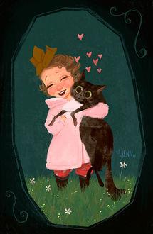 Фото Девочка прижимает к себе кошку, by Jennifer Ely