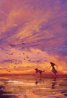 Фото Девушка с собакой бегут по берегу моря, by PyriteKite