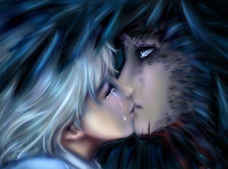 Фото Плачущая Софи Хаттер / Sophie Hatter целует Хаула / Howl из аниме Ходячий замок Хаула / Howl no Ugoku Shiro, by Slenderhand